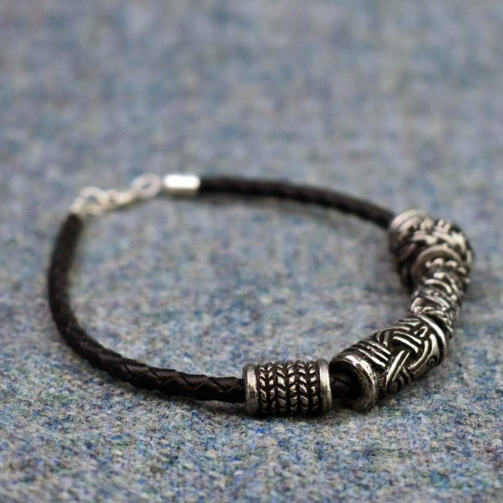 Braided Leather Bracelet with Silver Fittings