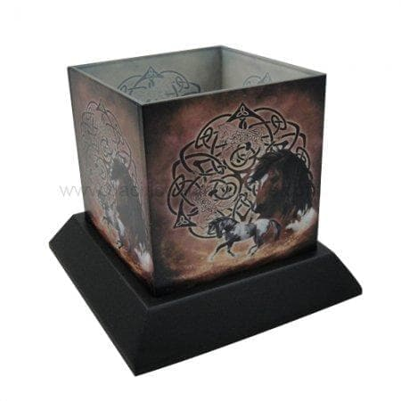Celtic Knot and Horse Hurricane Candle Holder