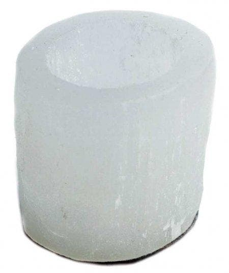Wiccan Round Selenite Crystal Tea Light Candle Holder