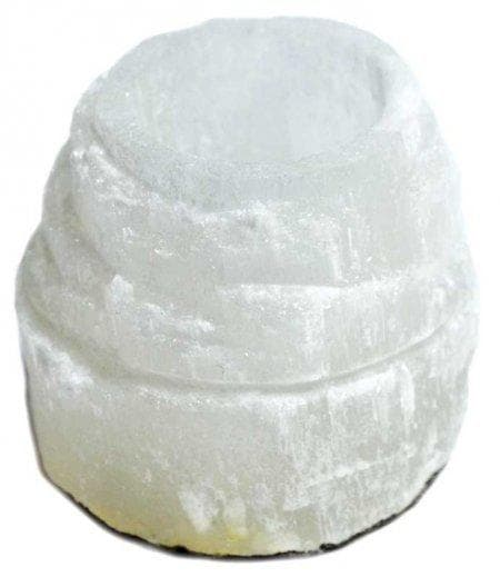 Wiccan Selenite Iceberg Tea Light Candle Holder