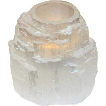 Wiccan Selenite Tower Tea Light Candle Holder