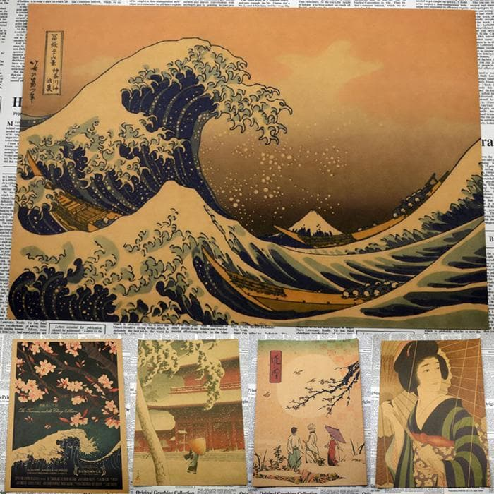 Canvas Wall Art 2 WHITE Ancient Japanese Painting Wall Art