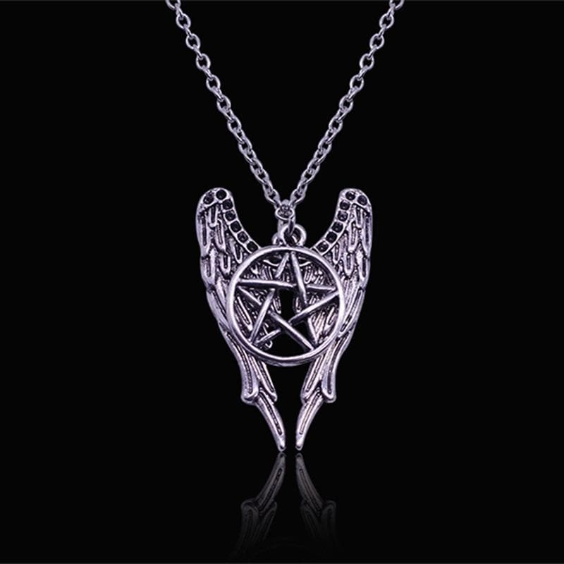 Antique Winged Wiccan Pentacle Necklace