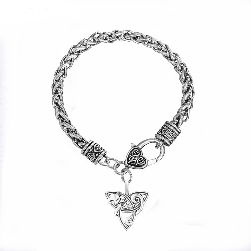 Decorative Cat Lying on Triquetra Chain Bracelet