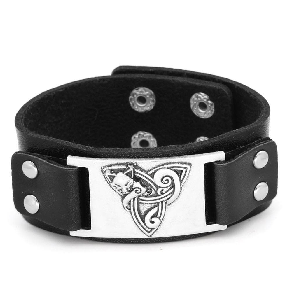 Celtic Cat Triquetra Leather Bracelet Ancient Treasures Ancientreasures Viking Odin Thor Mjolnir Celtic Ancient Egypt Norse Norse Mythology