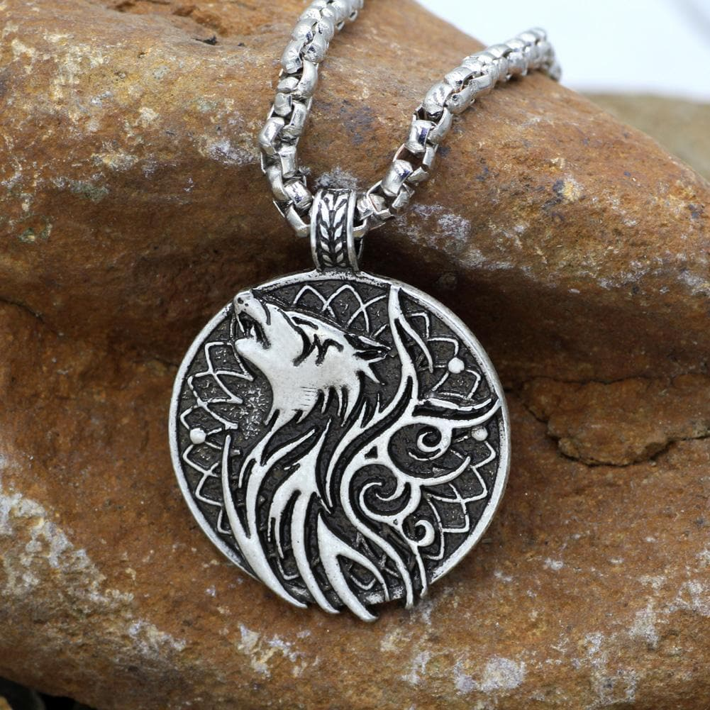 day and night sun and moon Viking wolf necklace