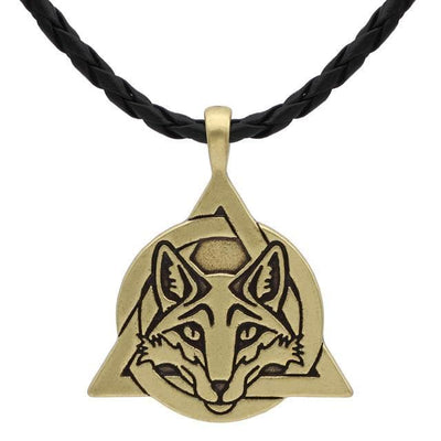 Celtic Gold Plated, Leather Cord Slavic Fox Trinity Necklace Ancient Treasures Ancientreasures Viking Odin Thor Mjolnir Celtic Ancient Egypt Norse Norse Mythology