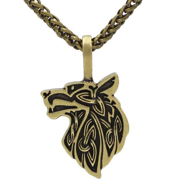 Celtic Gold Plated, Metal Chain Mythological Wolf Pendant Necklace Ancient Treasures Ancientreasures Viking Odin Thor Mjolnir Celtic Ancient Egypt Norse Norse Mythology