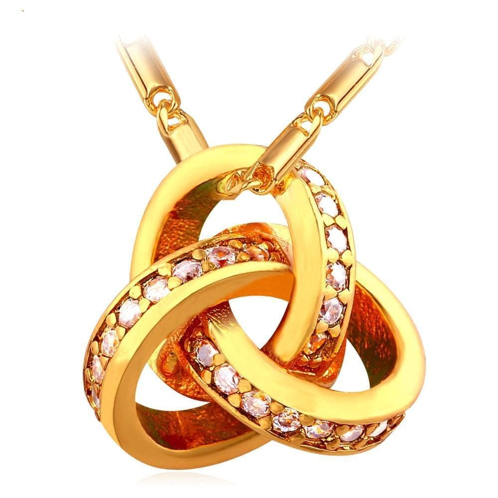 Celtic Gold Plating Stainless Steel Zirconia Triquetra Pendant