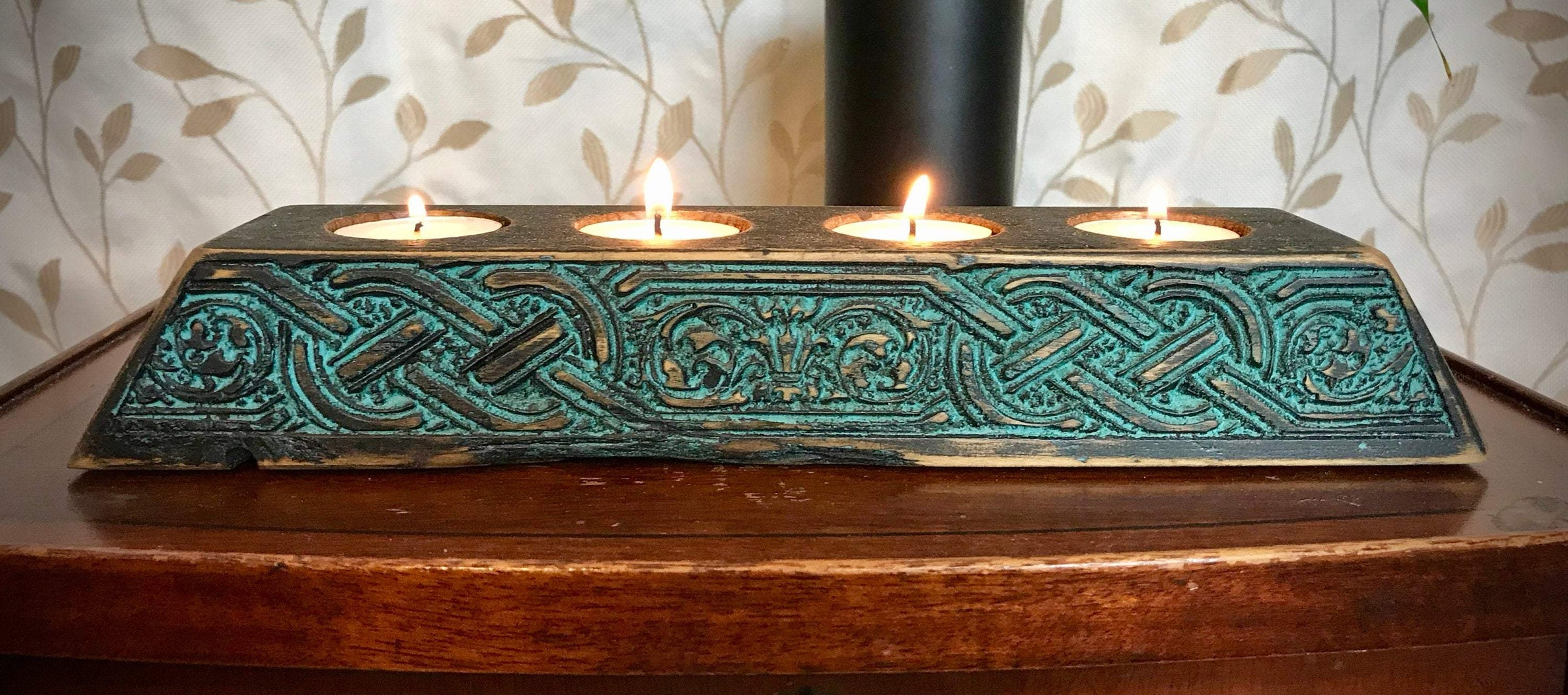 Large Wooden Antique Styled Medieval Celtic Knot Candle Holder Holds Six Tea Candles Renaissance Style