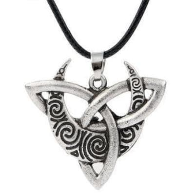 Celtic Leather Cord Moon on Triquetra Celtic Necklace