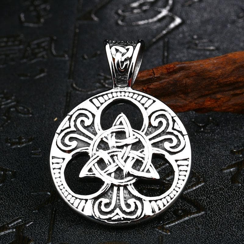 Stainless Steel Metal Chain With Triquetra Pendant Ancient Treasures