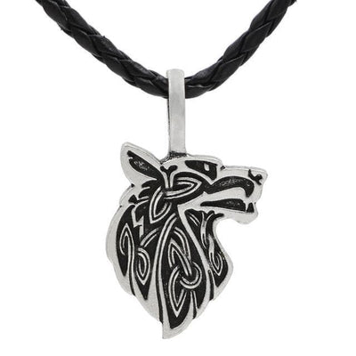 Celtic Silver Plated, Leather Cord Mythological Wolf Pendant Necklace Ancient Treasures Ancientreasures Viking Odin Thor Mjolnir Celtic Ancient Egypt Norse Norse Mythology