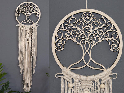 Celtic Tree of life Wood & Woven Rope Wall Hanging