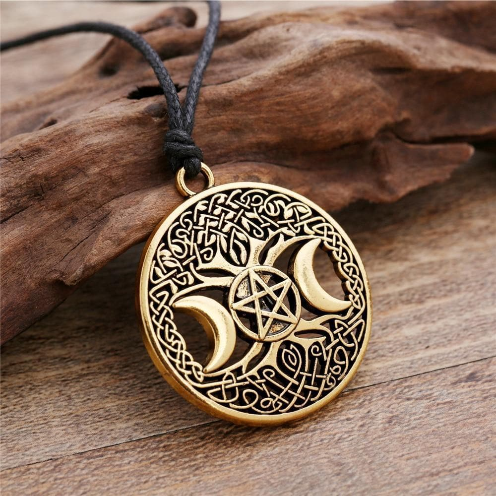 Celtic Triple Moon Pentacle Amulet Necklace