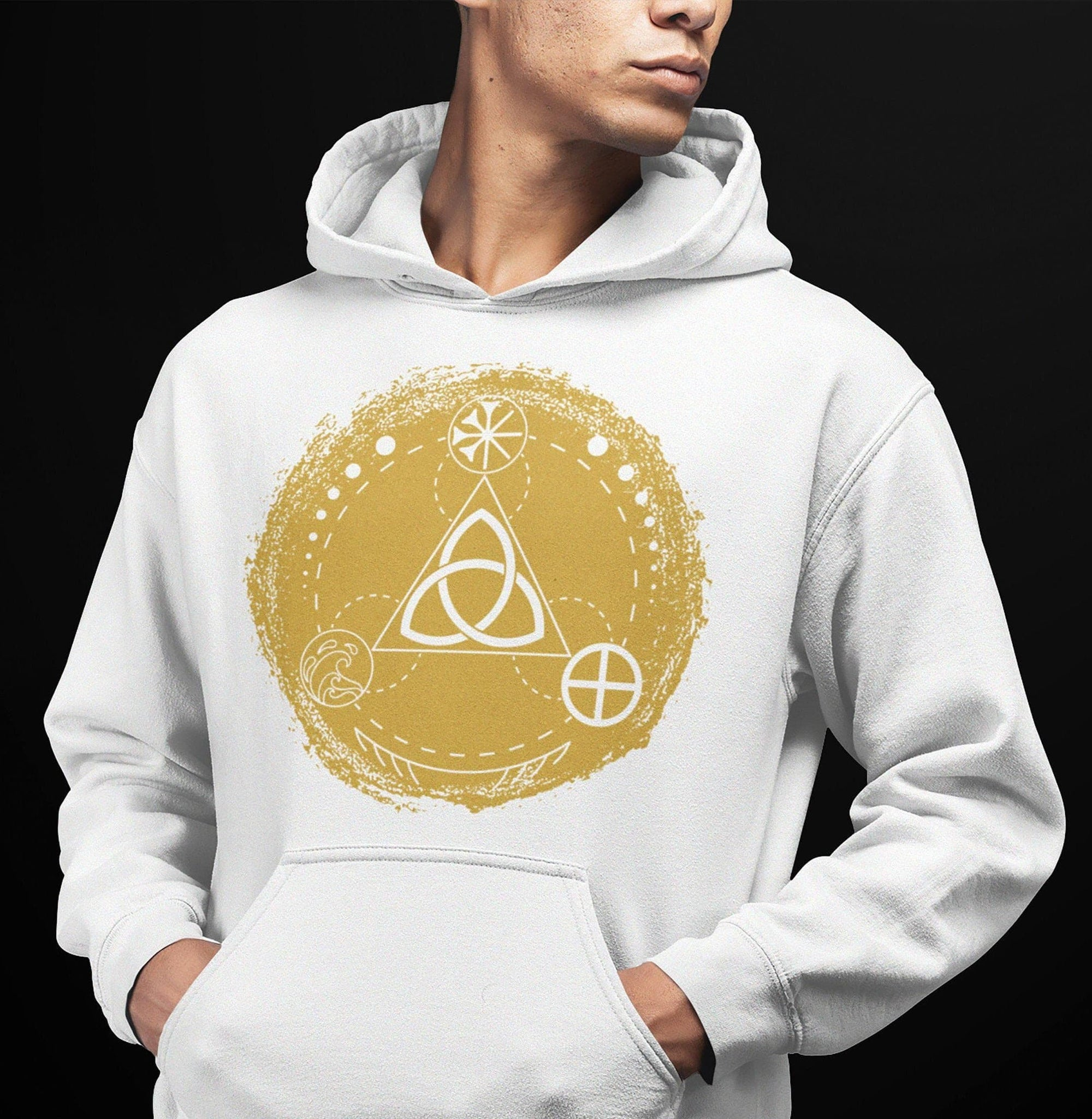 Celtic Triquetra with Earth, Sea & Sky Brushstroke Unisex Hoodie Ancient Treasures Ancientreasures Viking Odin Thor Mjolnir Celtic Ancient Egypt Norse Norse Mythology