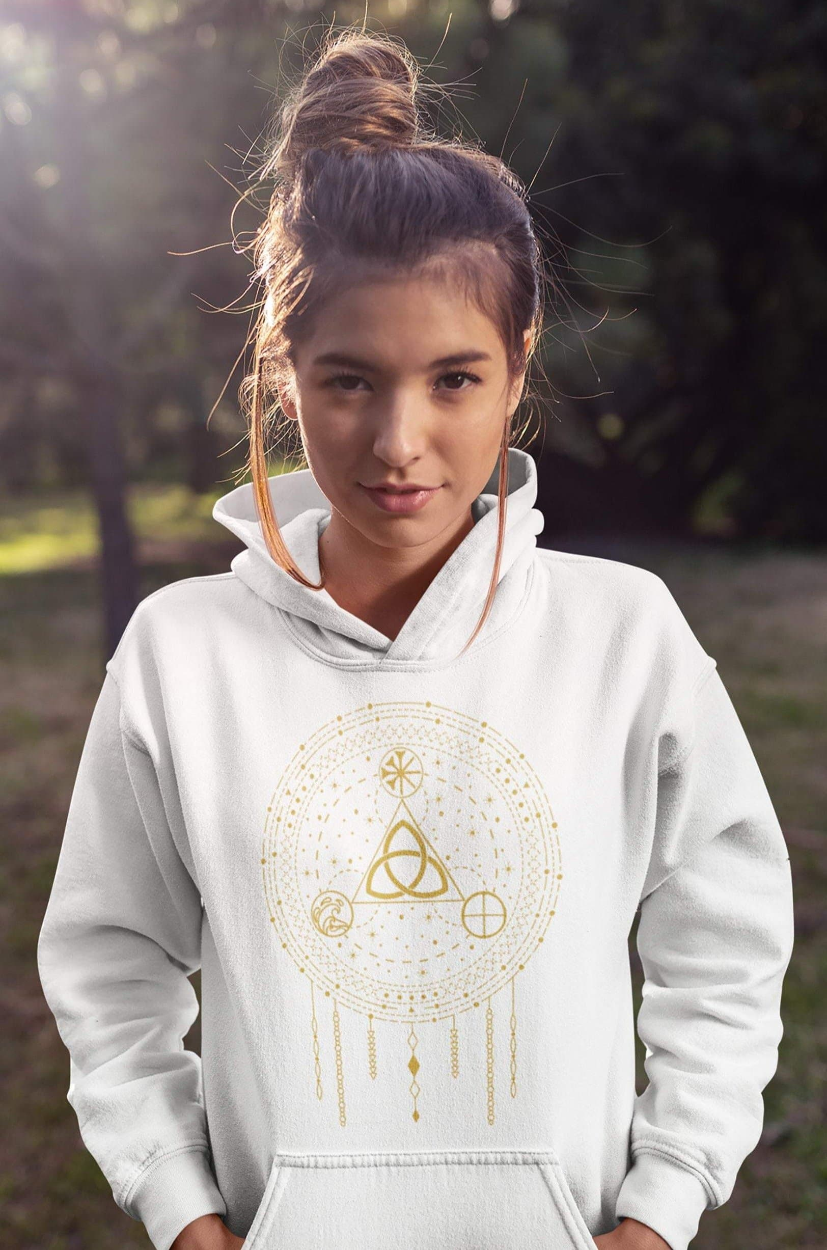 Celtic Triquetra with Earth, Sea & Sky Dreamcatcher Unisex Hoodie Ancient Treasures Ancientreasures Viking Odin Thor Mjolnir Celtic Ancient Egypt Norse Norse Mythology