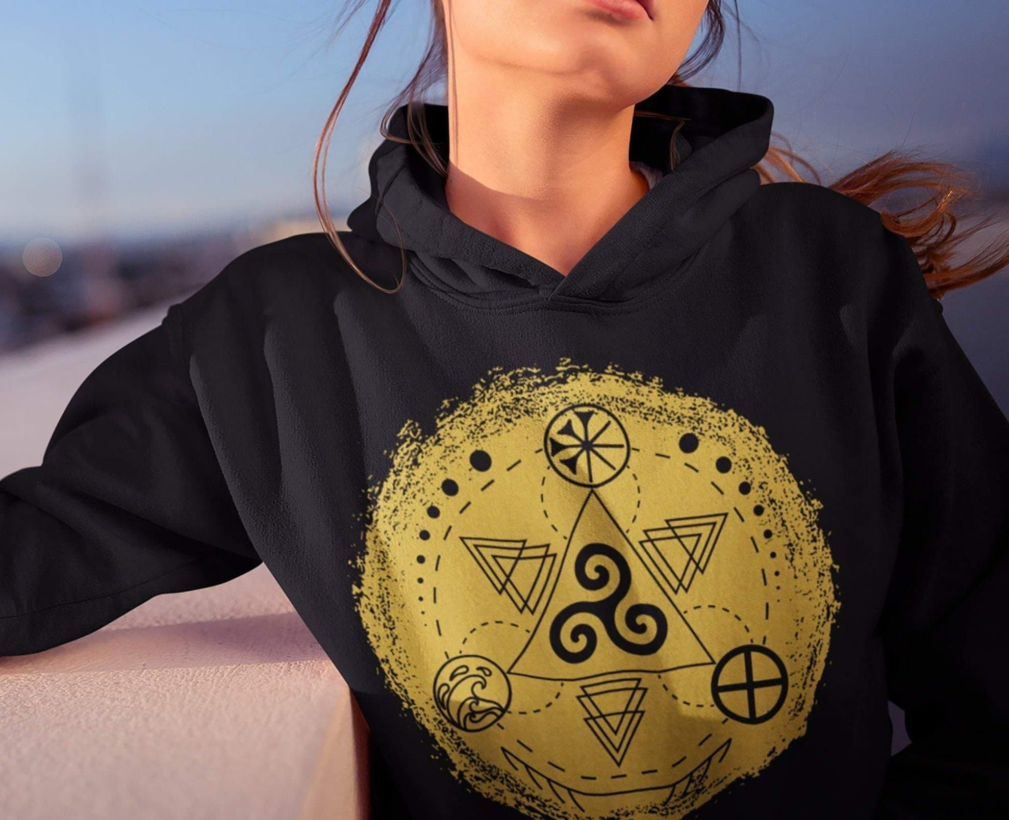 Celtic Triskele with Earth, Sea & Sky Brushstroke Unisex Hoodie Ancient Treasures Ancientreasures Viking Odin Thor Mjolnir Celtic Ancient Egypt Norse Norse Mythology
