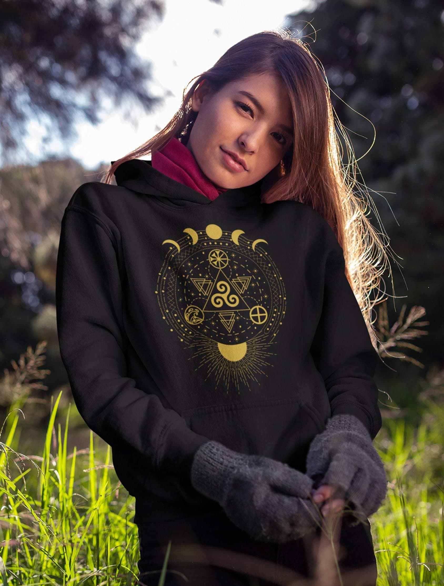 Celtic Triskelion - Earth, Sea & Sky | Sun and Moon Unisex Hoodie Ancient Treasures Ancientreasures Viking Odin Thor Mjolnir Celtic Ancient Egypt Norse Norse Mythology