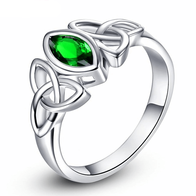 Celtic US 6 / Green Celtic White Gold Plated Triquetra Ring