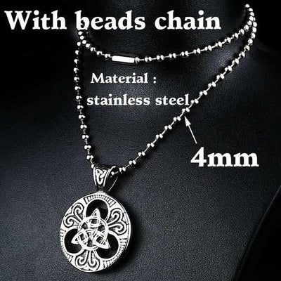 Celtic with beads chain / 55cm Stainless Steel Metal Chain with Triquetra Pendant Ancient Treasures Ancientreasures Viking Odin Thor Mjolnir Celtic Ancient Egypt Norse Norse Mythology