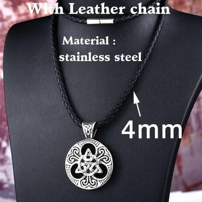 Celtic with leather chain / 55cm Stainless Steel Metal Chain with Triquetra Pendant Ancient Treasures Ancientreasures Viking Odin Thor Mjolnir Celtic Ancient Egypt Norse Norse Mythology