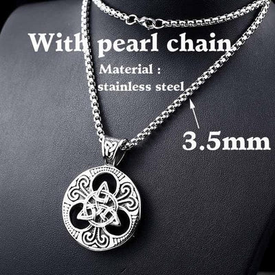 Celtic with pearl chain / 55cm Stainless Steel Metal Chain with Triquetra Pendant Ancient Treasures Ancientreasures Viking Odin Thor Mjolnir Celtic Ancient Egypt Norse Norse Mythology