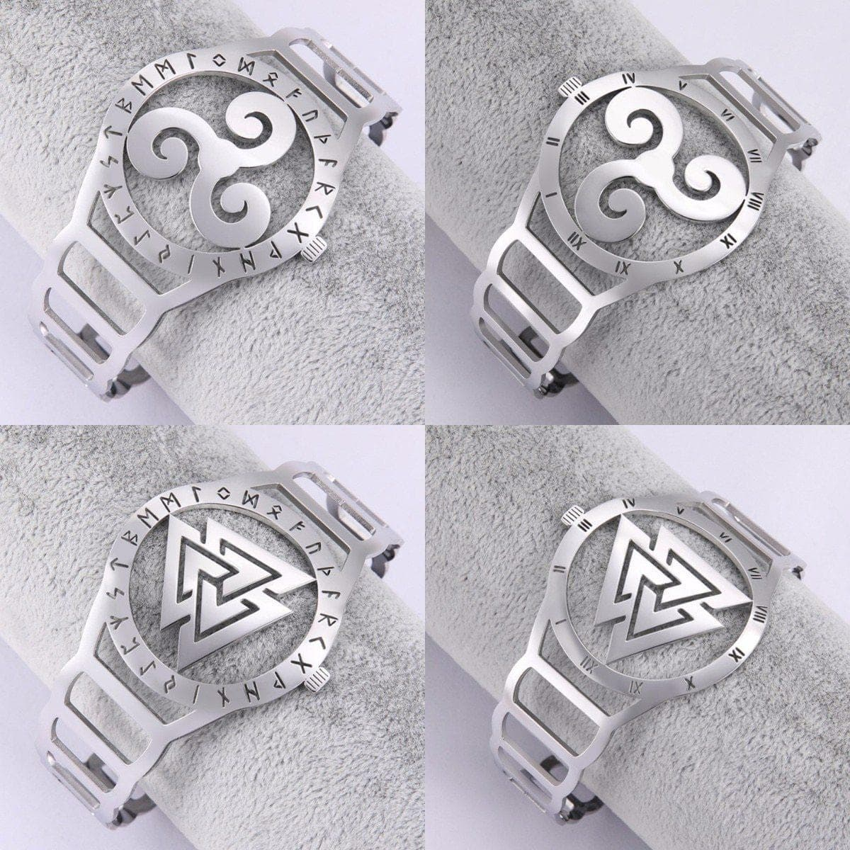 Charm Bracelets LIKGREAT Triskel Valknut Wicca Symbol Stainless Steel Bracelet Bangle for Women Men Open Cuff Bracelets Watch Shape Jewelry Gift|Charm Bracelets| Ancient Treasures Ancientreasures Viking Odin Thor Mjolnir Celtic Ancient Egypt Norse Norse Mythology