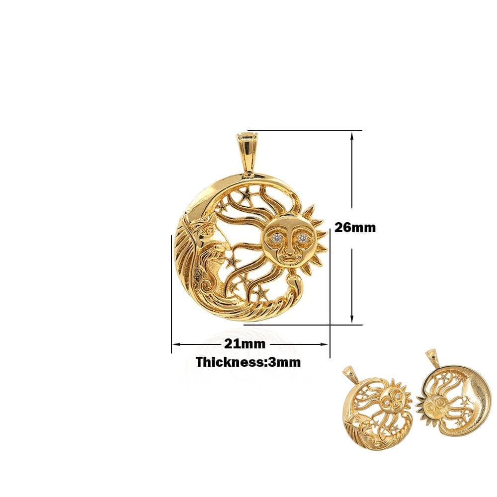 Charms Sun Moon Pendant Brass Zircon Universe Necklace DIY Jewelry Bracelet Making Accessories 26x21x3MM|Charms| Ancient Treasures Ancientreasures Viking Odin Thor Mjolnir Celtic Ancient Egypt Norse Norse Mythology