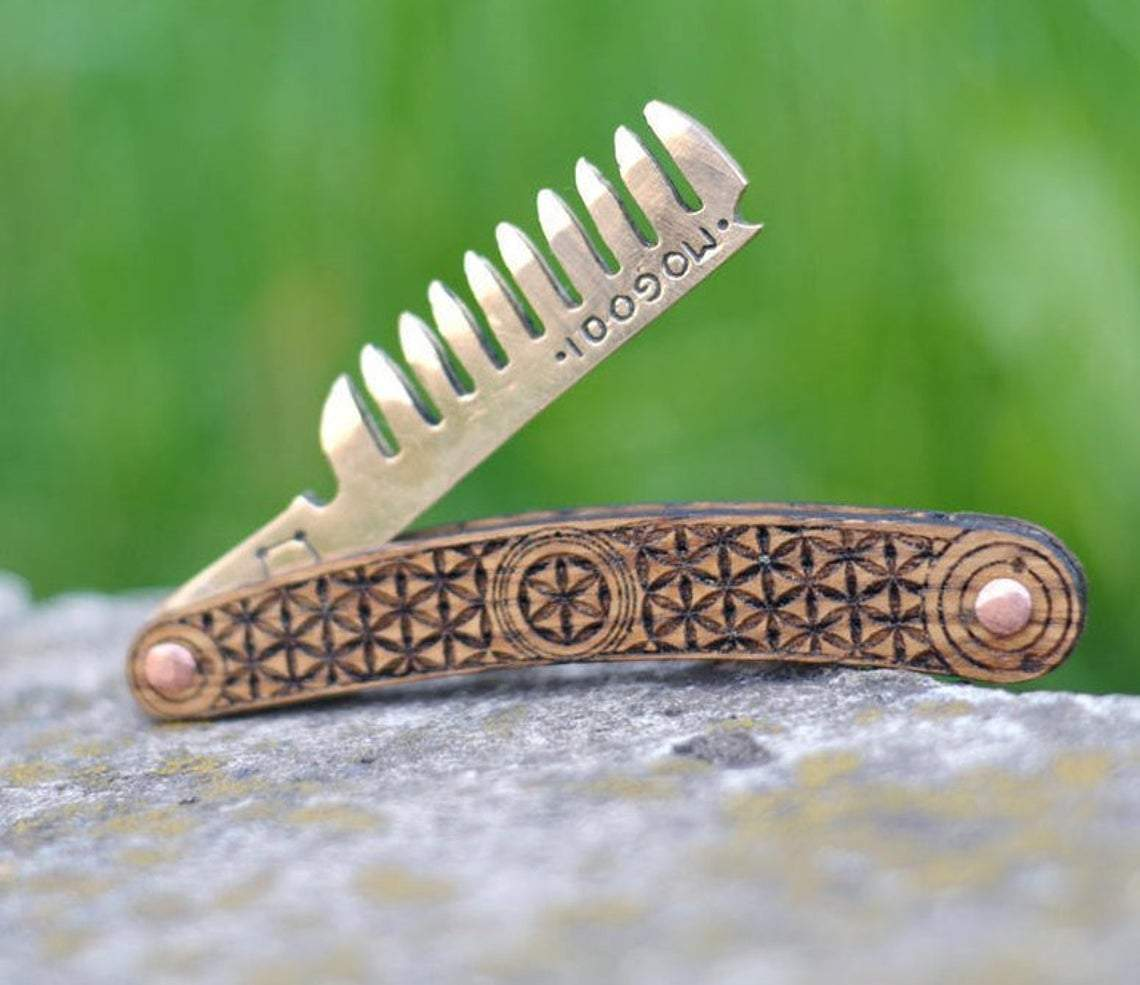Comb Vikings Bronze Pocket Beard Comb with Sacred Geometry Ornaments Ancient Treasures Ancientreasures Viking Odin Thor Mjolnir Celtic Ancient Egypt Norse Norse Mythology
