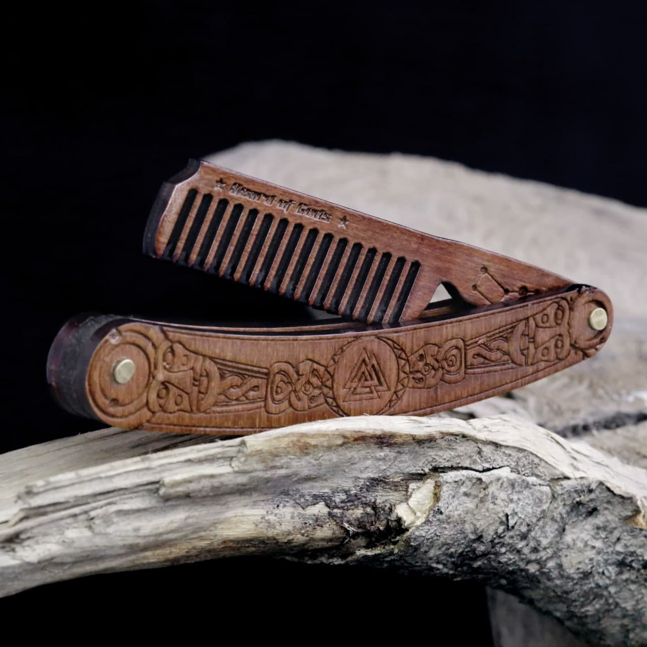 Combs & Brushes Viking Valknut Wooden Beard Pocket Comb Ancient Treasures Ancientreasures Viking Odin Thor Mjolnir Celtic Ancient Egypt Norse Norse Mythology