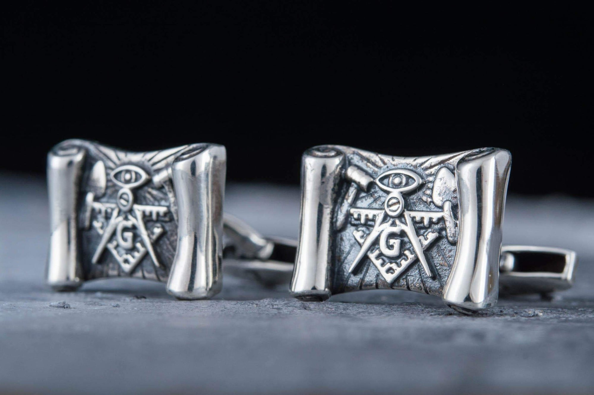 Cufflinks Freemason Scoll Sterling Silver Cufflinks with Masonic Symbols Ancient Treasures Ancientreasures Viking Odin Thor Mjolnir Celtic Ancient Egypt Norse Norse Mythology