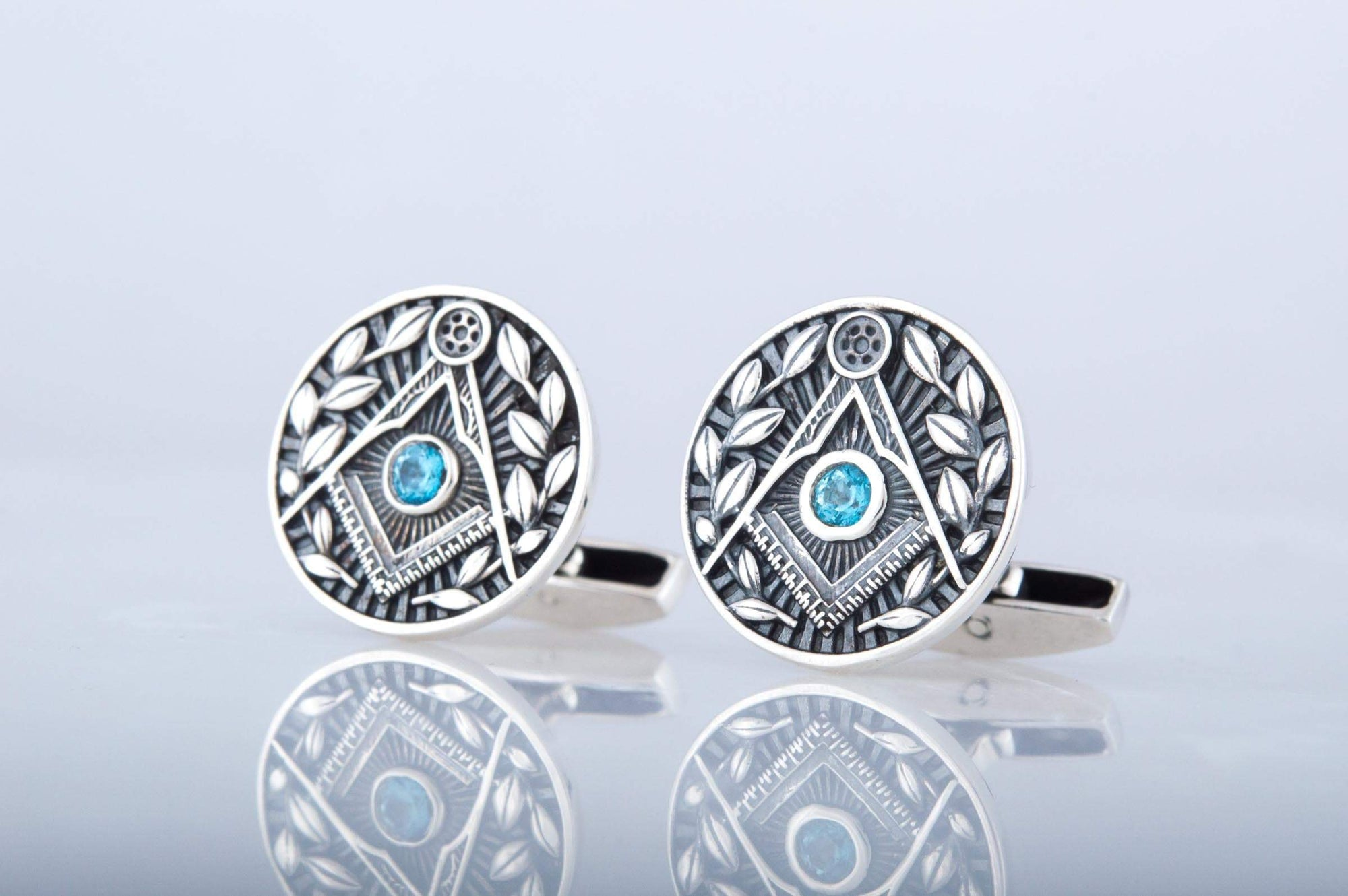 Cufflinks Masonic Square & Compass Sterling Silver Cufflinks w/ Cubic Zirconia Ancient Treasures Ancientreasures Viking Odin Thor Mjolnir Celtic Ancient Egypt Norse Norse Mythology