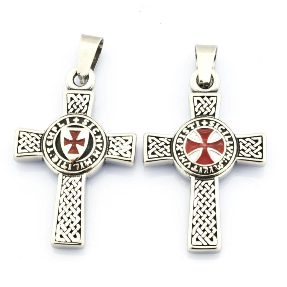 Default Title FANSSTEEL Stainless steel jewelry  knight templar cross pendant two sides FSP17W71