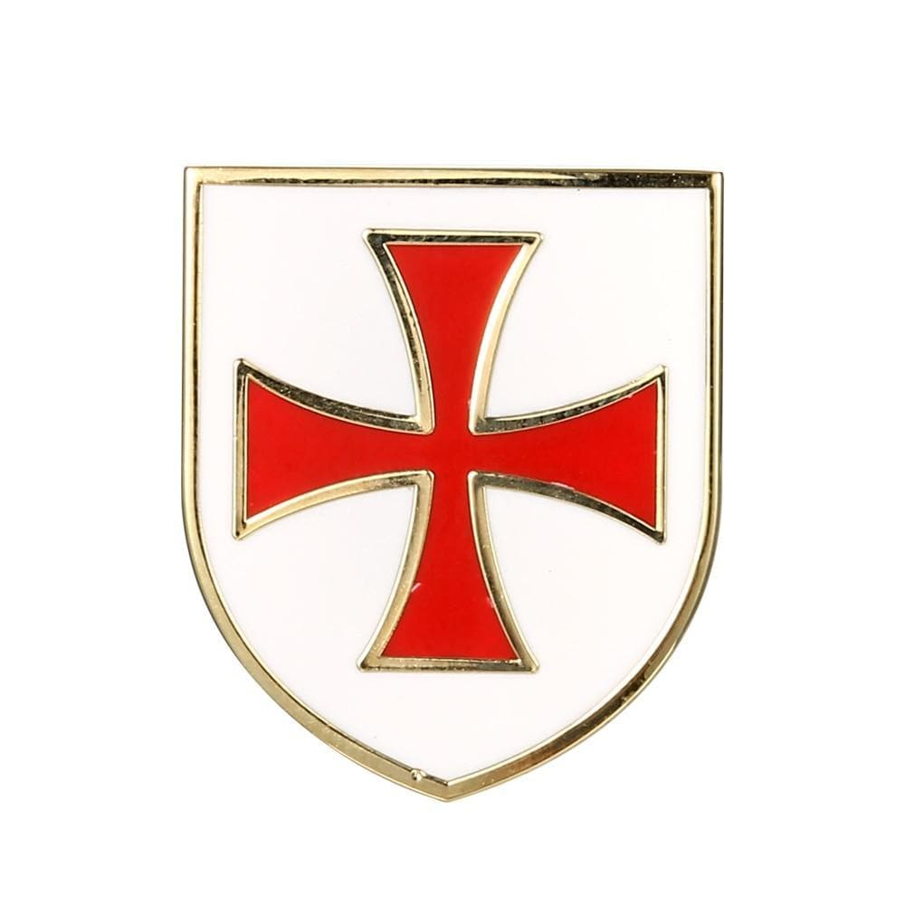 Default Title Freemason Masonic Mason Lapel Pin Christian Army Crusader Knights Templar Red Cross White Shield Pins and Badges Brooches