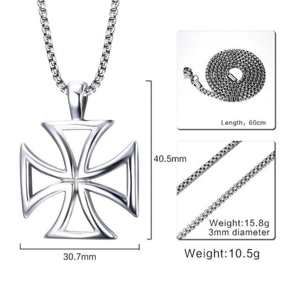 Default Title Mprainbow Mens Necklace Stainless Steel Vintage Hollow Maltese Iron Cross Pendant Necklace Knights Templar Cross Fashion Jewelry
