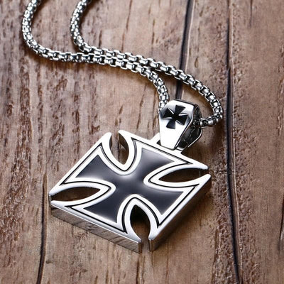 Default Title Mprainbow Mens Necklace Stainless Steel Vintage Knights Templar Iron Cross Pendant Necklace for Men Biker Maltese Cross Jewelry