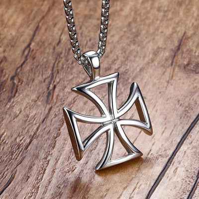 Default Title Stainless Steel Knights Templar Red Cross Necklace