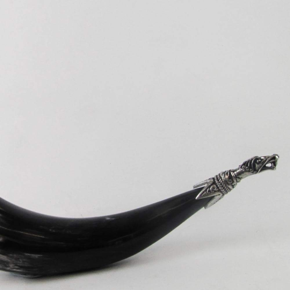 Viking Pewter Dragon Head Tipped Drinking Horn