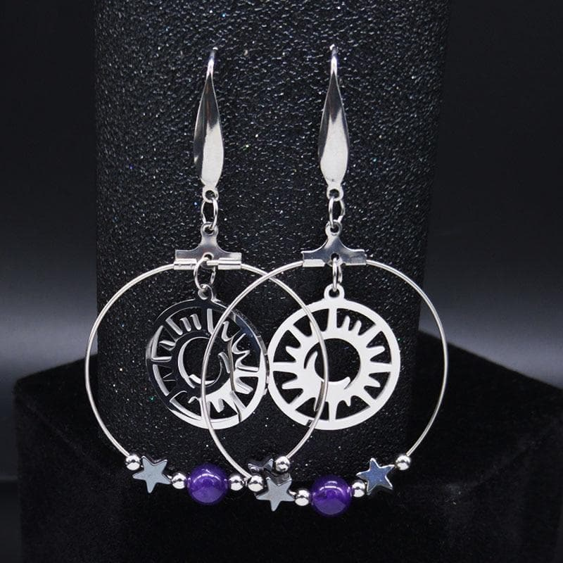 Drop Earrings 2020 Pentagram Moon Sun Witchcraft Stainless Steel Natural Crystal Earring for Women Drop Earrings Jewelry pendientes E613009|Drop Earrings Ancient Treasures Ancientreasures Viking Odin Thor Mjolnir Celtic Ancient Egypt Norse Norse Mythology