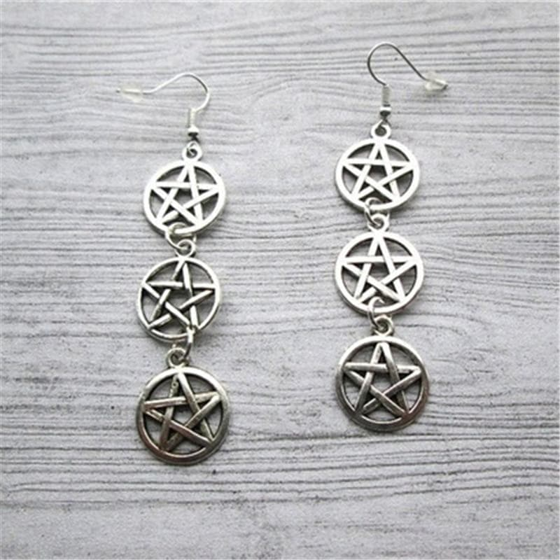 Drop Earrings Antique Silver Plated / China Triple Pentacle Earrings, Triple Pentagram Earrings, Pagan Earrings, Wiccan Earrings, Wiccan Jewellery, Wiccan Jewelry|Drop Earrings| Ancient Treasures Ancientreasures Viking Odin Thor Mjolnir Celtic Ancient Egypt Norse Norse Mythology