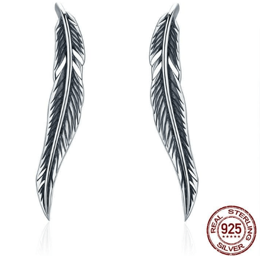 Drop Earrings BAMOER Authentic 925 Sterling Silver Vintage Feather Wings Cuff Drop Earrings for Women Sterling Silver Earrings Jewelry SCE258|earrings for|dropping earrings for womendrop earrings Ancient Treasures Ancientreasures Viking Odin Thor Mjolnir Celtic Ancient Egypt Norse Norse Mythology