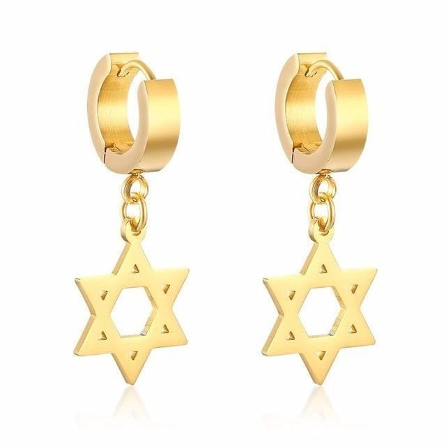 Drop Earrings Gold-color Vnox Star of David Dangle Earrings for Women Men Stainless Steel Israel Hexagon Drop Earrings Daily Boucles d'oreilles|Drop Earrings| Ancient Treasures Ancientreasures Viking Odin Thor Mjolnir Celtic Ancient Egypt Norse Norse Mythology