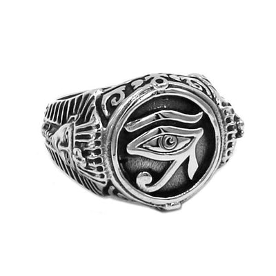 Egypt 8 / Eye of Horus - Silver Plated Stainless Steel Eye of Horus Ring Ancient Treasures Ancientreasures Viking Odin Thor Mjolnir Celtic Ancient Egypt Norse Norse Mythology