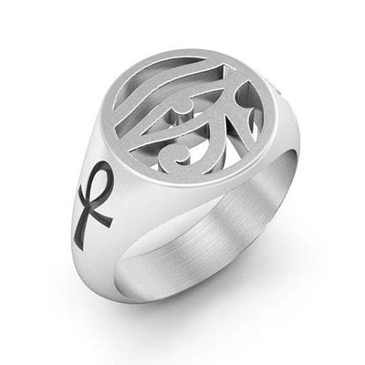 Ancient Egypt Eye of Ra and Ankh Signet Ring - Sterling Silver 925
