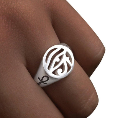 Egypt Eye of Ra and Ankh Signet Ring - Sterling Silver 925 Ancient Treasures Ancientreasures Viking Odin Thor Mjolnir Celtic Ancient Egypt Norse Norse Mythology