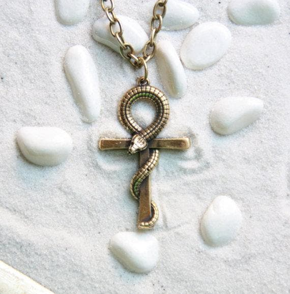 Egypt Handmade Bronze Snake Ankh Pendant Necklace Ancient Treasures Ancientreasures Viking Odin Thor Mjolnir Celtic Ancient Egypt Norse Norse Mythology