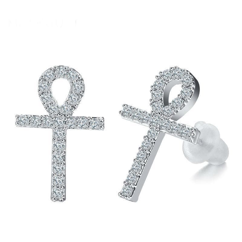 Silver Plated Ankh Earrings