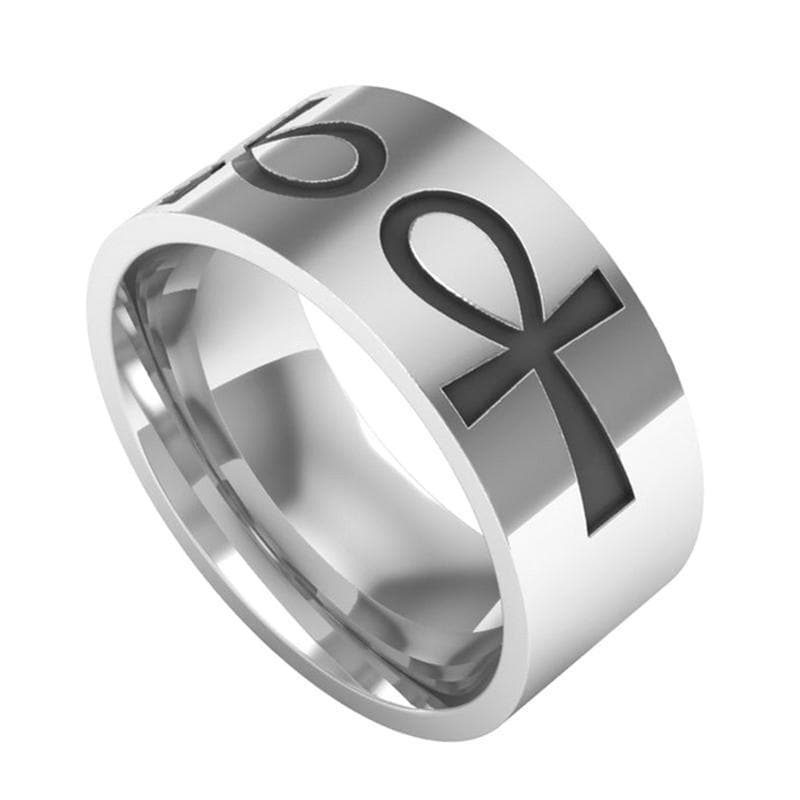 Stainless Steel Silver Ankh Ring