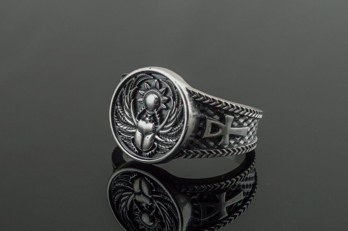 Ancient Egypt Winged Scarabeus Symbol Sterling Silver Ring